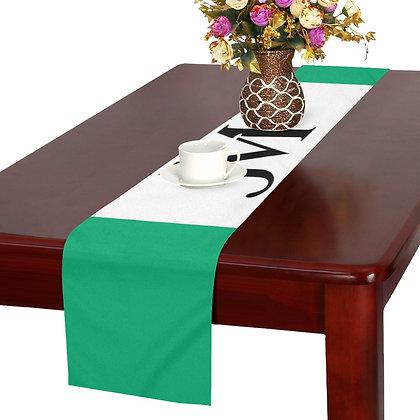 JM LOGO TABLE RUNNER // Jade Green, White, & Black