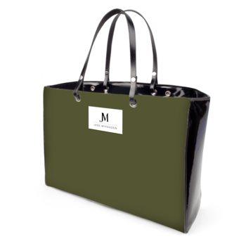 JM COMPANY HANDBAG // Olive Green & Black with JM Logo