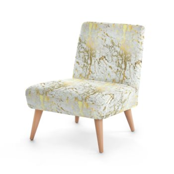 JM COMPANY ABSTRACT PRINT ACCENT CHAIR // White & Gold