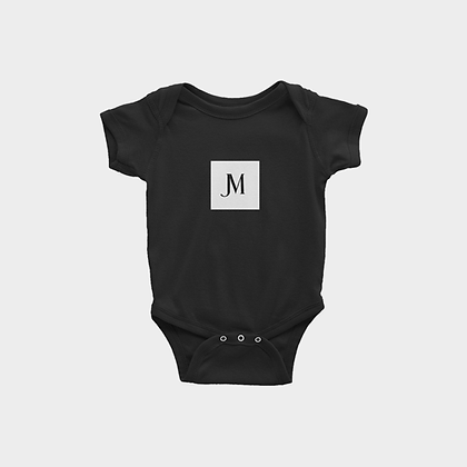 SHORT SLEEVE JM LOGO INFANT ONESIE // Black with JM Logo