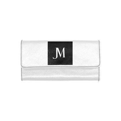 WOMEN'S JM LOGO TRIFOLD WALLET // White & Black