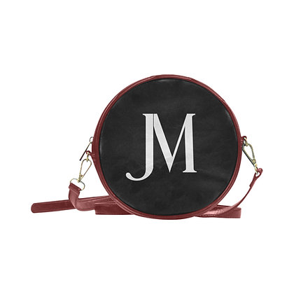 JM LOGO ROUND MESSENGER BAG // Wine, Black, & White
