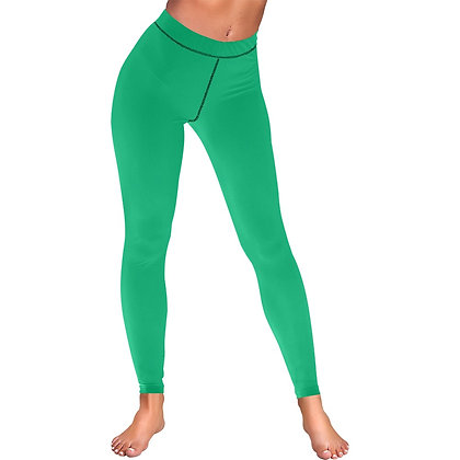 WOMEN'S LOW RISE LEGGINGS (OUTSIDE SERGING) // Jade Green