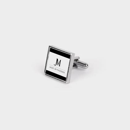 JM (JADE McFADDEN) COMPANY LOGO CUFFLINKS // Black, White, and Vintage Silver