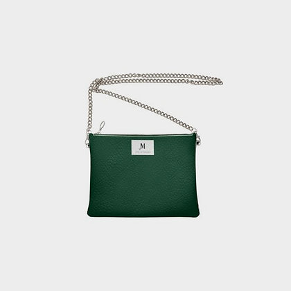 LEATHER CHAIN CROSSBODY BAG // Forest Green with JM Logo