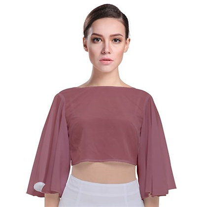 WOMEN'S TIE BACK BUTTERFLY SLEEVE CHIFFON TOP // Mauve Pink