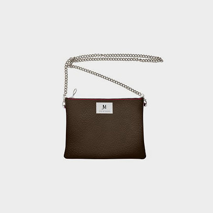 LEATHER CHAIN CROSSBODY BAG // Brown & Red with JM Logo