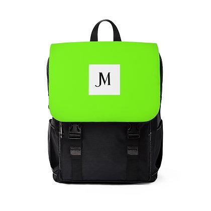 JM OXFORD CANVAS BACKPACK // Neon Green & Black with JM Logo