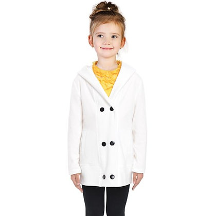 KIDS DOUBLE-BREASTED BUTTON COAT // White