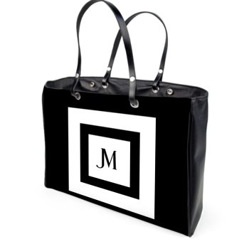 ITALIAN LEATHER JM SQUARED HANDBAG // Black & White