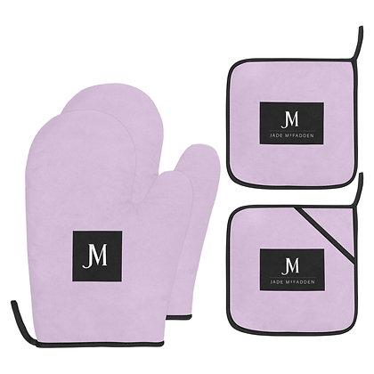 JM COMPANY LOGO OVEN MITT & POT HOLDER 4-PIECE SET // Lavender, Black, & White