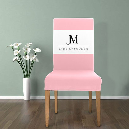 JM COMPANY LOGO REMOVABLE DINING CHAIR COVER // Light Pink, White, & Black