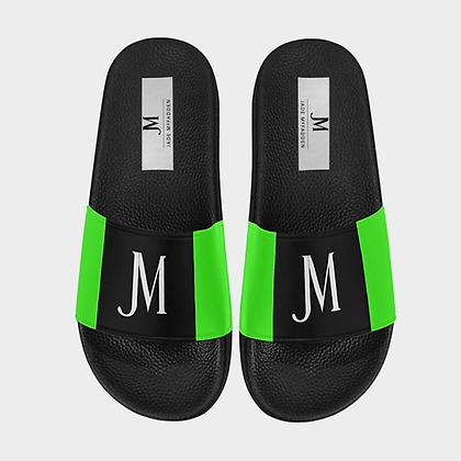 MEN'S JM LOGO SLIDE SANDALS (LARGE SIZES) // Black, White, & Neon Green