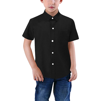 BOYS SHORT SLEEVE BUTTON-UP SHIRT // Black