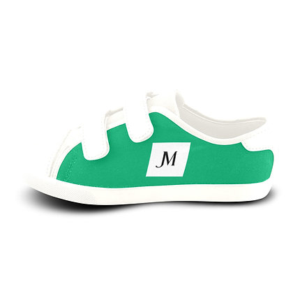 GIRLS JM LOGO VELCRO CANVAS SNEAKERS // Jade Green, White, & Black