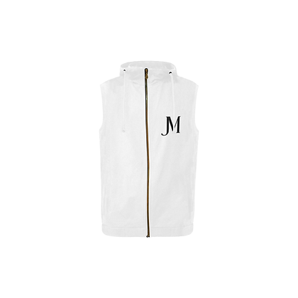 KID'S SLEEVELESS JM COMPANY ZIPPER HOODIE // White & Black