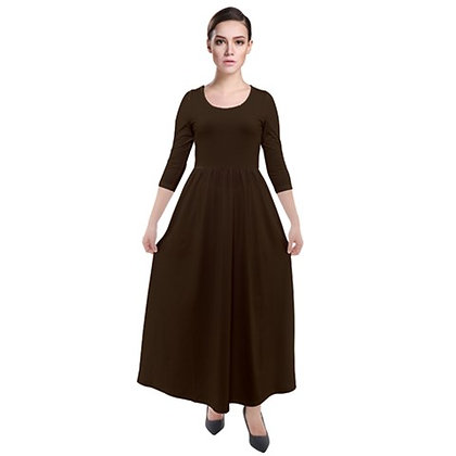 WOMEN'S THREE-QUARTER SLEEVE MAXI VELOUR DRESS // Chocolate