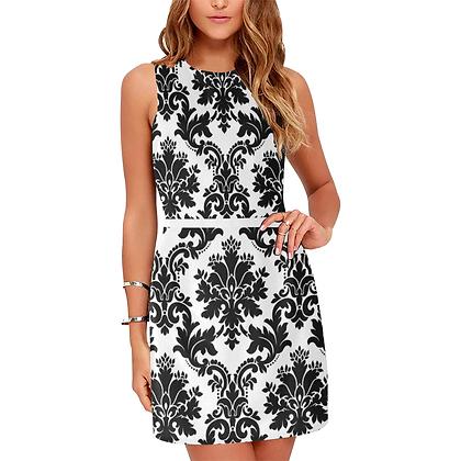 WOMEN'S SLEEVLESS FLORAL DAMASK PRINT DRESS // Black & White