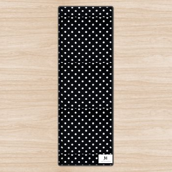 POLKA DOT YOGA MAT // Black & White with JM Logo