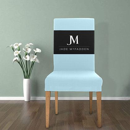 JM COMPANY LOGO REMOVABLE DINING CHAIR COVER // Light Blue, Black, & White