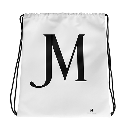 JM LOGO DRAWSTRING BAG // Black & White