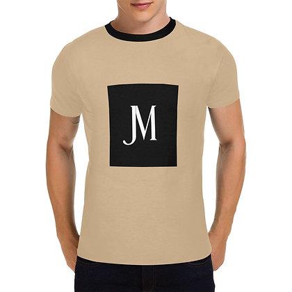 MEN'S JM LOGO PRINT  CASUAL T-SHIRT // Tan, Black, & White