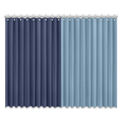 DUAL COLOR WINDOW CURTAIN (Two-Piece) // Denim Blue & Stone