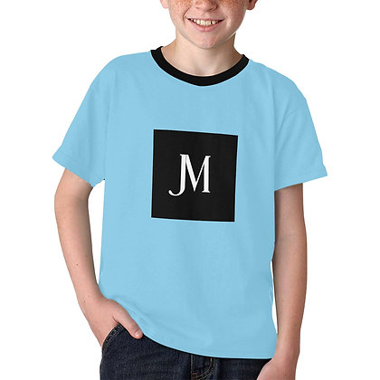 BOYS JM LOGO PRINT CASUAL T-SHIRT // Sky Blue, Black, & White