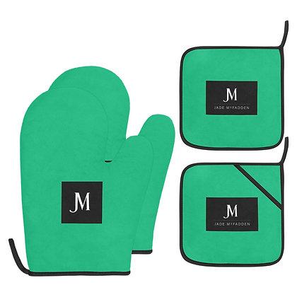 JM COMPANY LOGO OVEN MITT & POT HOLDER 4-PIECE SET // Jade Green, Black, & White