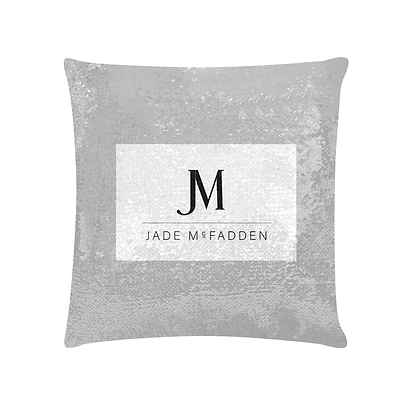JM COMPANY LOGO SEQUIN PILLOWCASE // Silver, White, & Black