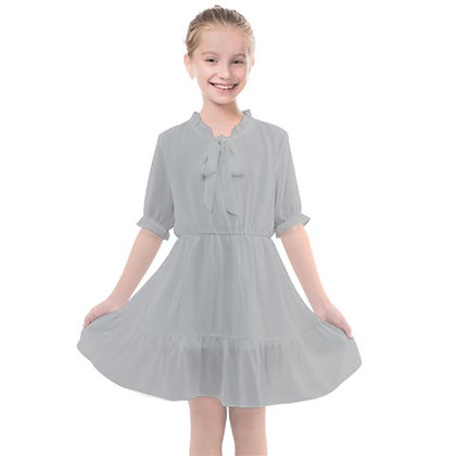 GIRLS FRILLS CHIFFON DRESS // Light Grey
