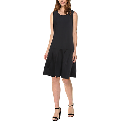 WOMEN'S SLEEVELESS SPLICING SHIFT DRESS // Black
