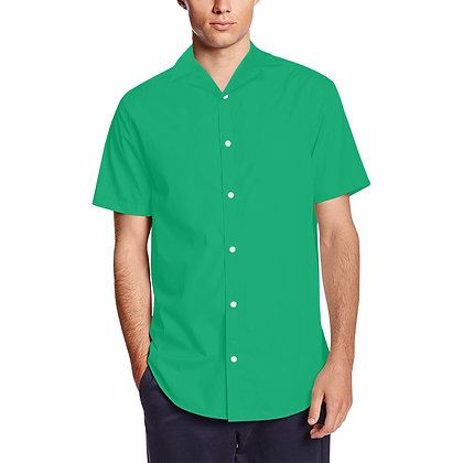 MEN'S SHORT SLEEVE LAPEL COLLAR BUTTON-UP SHIRT // Jade Green