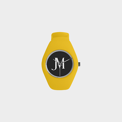 KIDS JM LOGO CANDY SILICONE WATCH // Yellow, Black, & White