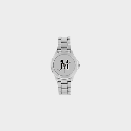 JM LOGO STAINLESS STEEL WATCH // Silver Metal, White, & Black
