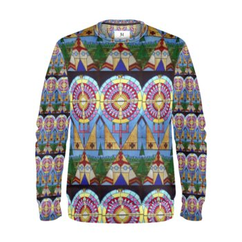 NATIVE AMERICAN-INDIGENOUS STAINED GLASS PRINT SWEATSHIRT // Multicolored