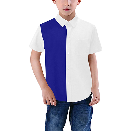 BOYS DUAL COLOR SHORT SLEEVE BUTTON-UP SHIRT // White & Navy Blue