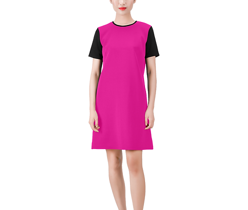 SHORT SLEEVE ROUND NECK A-LINE COLOR-BLOCK DRESS #3 // Multicolored