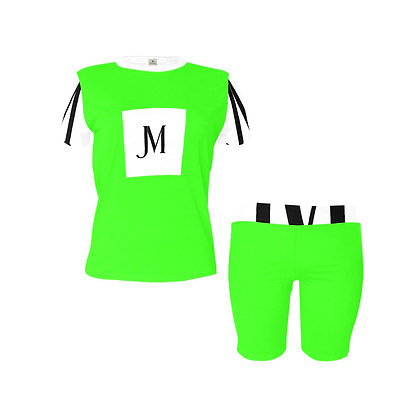 WOMEN'S JM LOGO TWO-PIECE ATHLEISURE SHORTS SET // Neon Green, White, & Black
