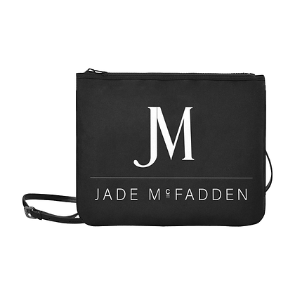 JM COMPANY LOGO SLIM CLUTCH CROSSBODY BAG // Black & White