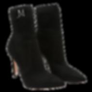 black suede knitted JM sock boots side T