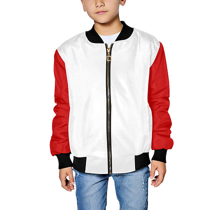 KIDS JM COMPANY COLOR-BLOCK BOMBER JACKET // White, Red, & Black