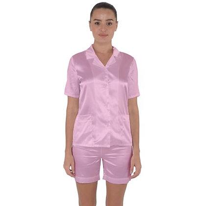 WOMEN'S SATIN SHORT SLEEVE PAJAMA SET // Soft Pink