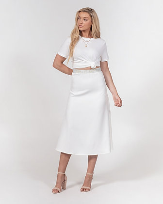 WOMEN'S MARBLE ABSTRACT PRINT A-LINE MIDI SKIRT // White & Gold
