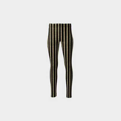 STRIPED PONTE JERSEY HIGH-WAIST LEGGINGS // Black & Gold Sparkle Stripes