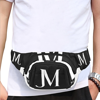 JM LOGO ALL-OVER PRINT UNISEX WAIST BAG // Black & White