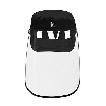 JM COMPANY LOGO MILITARY STYLE CAP WITH DETACHABLE FACE SHIELD // Black & White