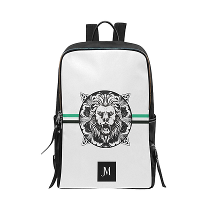 ROYAL COAT OF ARMS SCHOOL & TRAVEL UNISEX BACKPACK // White, Black, & Jade Green