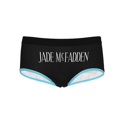 WOMEN'S JADE McFADDEN LOGO PRINT BOYSHORTS // Black, White, & Light Blue