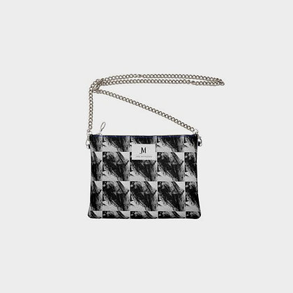 LEATHER SQUARED PAINT PRINT CHAIN CROSSBODY BAG // Black & White